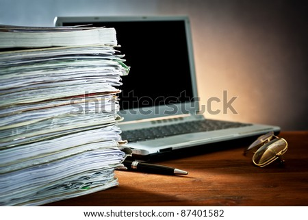 ,newspaper,document and laptop, - stock photo