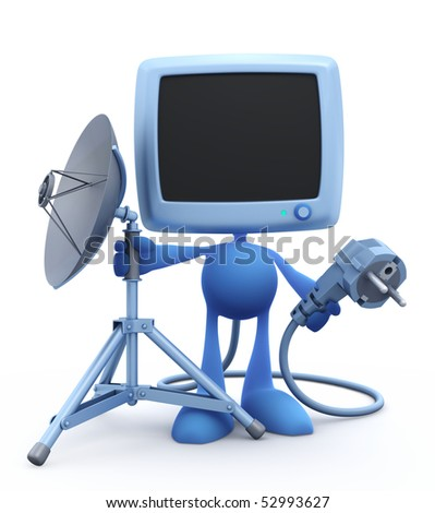 """""""Next Generation"""" of a Home TV - Self-Plugging System :) Cartoon Man with the old-fashioned tv-set instead of a head, holding electric power plug and mobile tripod stand with satellite dish - stock photo"""