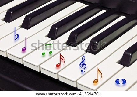 Nice abstract image of musical symbols on piano keys                              - stock photo
