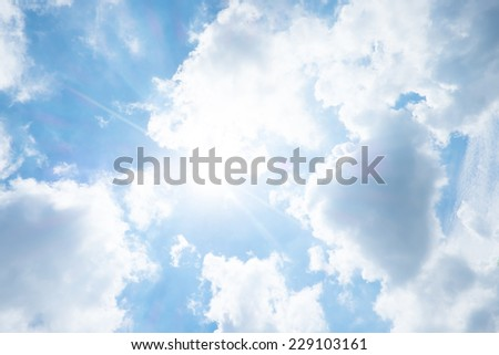Nice blue sky with sun beam with cloudy - stock photo