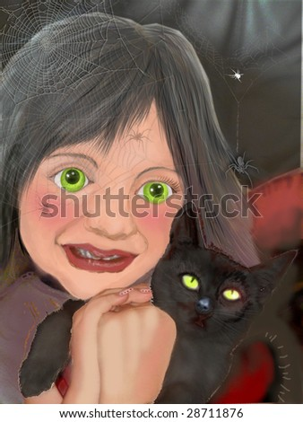 nice little witch with her black cat - stock photo