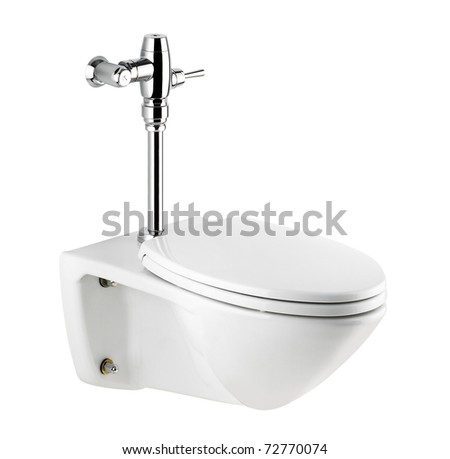 Nice toilet and urinate bowl a nice bathroom accessories isolated on white background   - stock photo