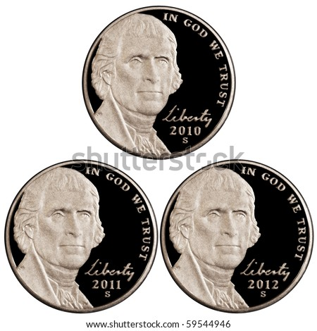 2010 2011 2012 Nickels - stock photo
