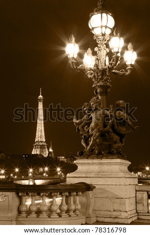 Night illumination on the bridge of Alexander III. Paris, France. - stock photo