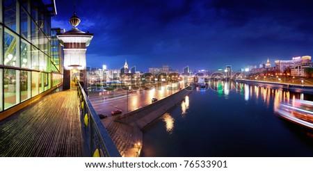 Night Moscow.  Moscow River.  Berezhkovskaya Embankment. - stock photo