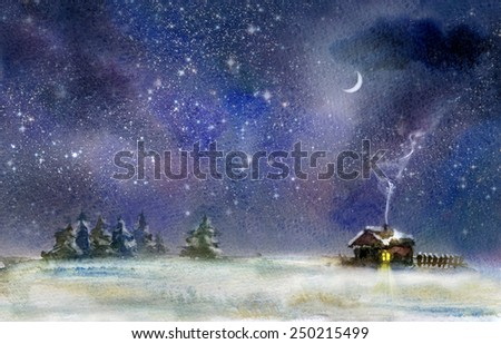 Night rural landscape at winter. Watercolor illustration.