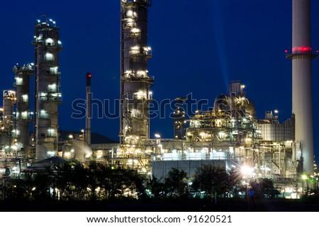 Night scene of power plant. - stock photo