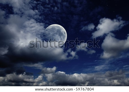night sky with the moon , clouds and stars - stock photo