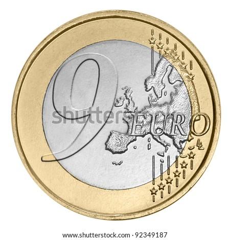 Nine euro coin on white - stock photo