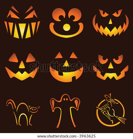 * Nine Glowing Jack O Lantern Designs - stock photo