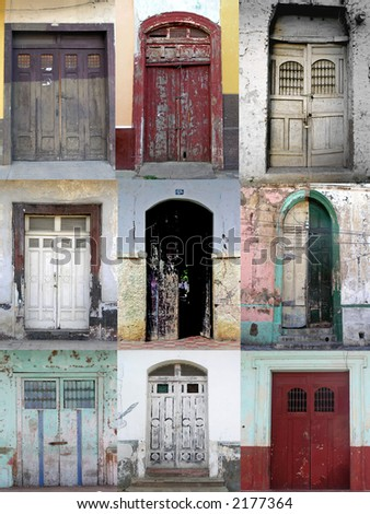 nine old and grungy doors