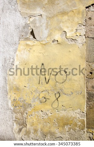 """""""No G8"""" painted on a wall in Lucca, Italy - stock photo"""