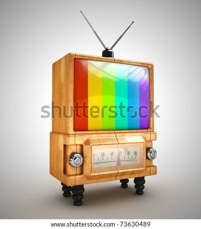 no signal retro tv 3d rendered isolated - stock photo