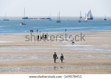 """Noordsvaarder"" is the name of the western part of the Wadden island Terschelling. It is one of the largest sand plates or sandbanks in the Netherlands. - stock photo"
