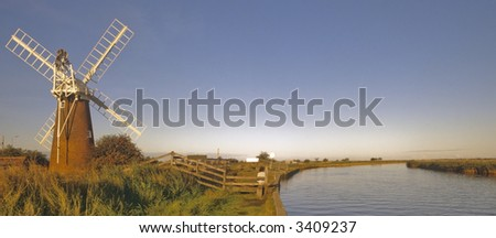norfolk broads river waveney stracey arms windpump norfolk broads national park east anglia england uk europe - stock photo