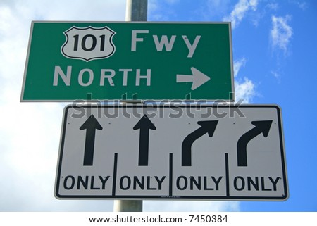 101 North Sign - Ventura Highway - stock photo