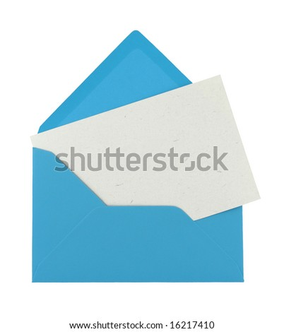 note in a blue envelope isolated on white - stock photo