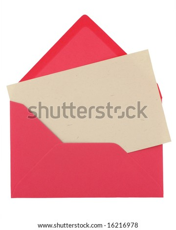 note in a pink envelope isolated on white - stock photo