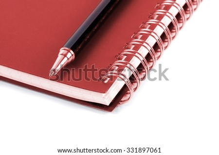 notebook with copper binding and stylish pen - stock photo