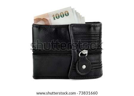1000 notes in a black wallet isolated on white background - stock photo