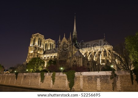 Notre Dame de Paris, more than seven hundred years old, is only the most recent of holy houses to occupy this ancient sacred ground. - stock photo