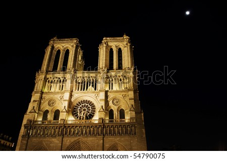 Notre Dame de Paris, more than seven hundred years old, is only the most recent of holy houses to occupy this ancient sacred ground. The Celts held their services on this island in the Seine, - stock photo