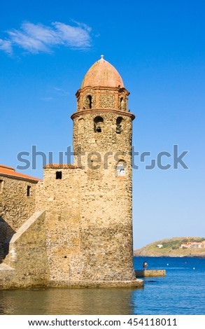 Notre-Dame-des-Anges in small and picturesque village of Colliure, near Perpignan at south of France - stock photo