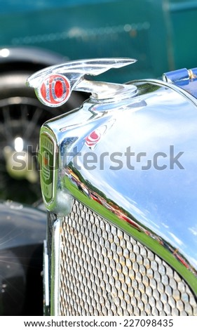NOTTINGHAM, UK - JUNE 1, 2014: Close up of a vintage Morris 10 car for sale in Nottingham, England. - stock photo