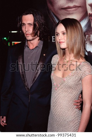 "17NOV99:  Actor JOHNNY DEPP & girlfriend French actress/singer VANESSA PARADIS at the world premiere, in Hollywood, of his new movie ""Sleepy Hollow.""  Paul Smith / Featureflash - stock photo"
