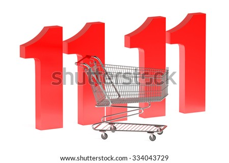 11 november Shopping Day concept isolated on white background - stock photo