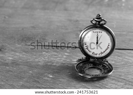 ''Now is the time for change'' written on a pocket watch - stock photo