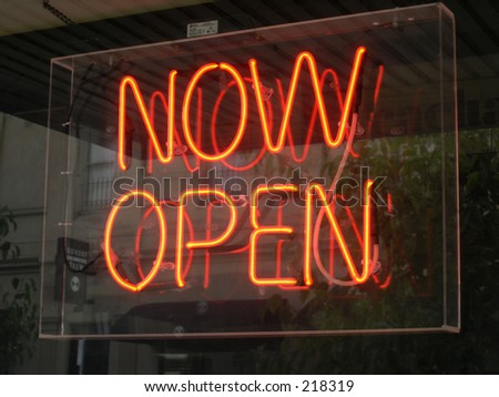 """Now Open"" - stock photo"