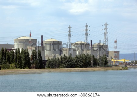 4 nuclear reactors buildings in power plant of Tricastin, France - stock photo