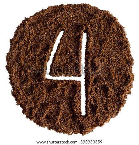 4, Number From Ground Coffee On a White Background