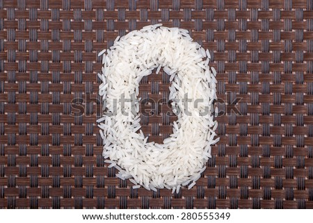 0, number from raw rice - stock photo