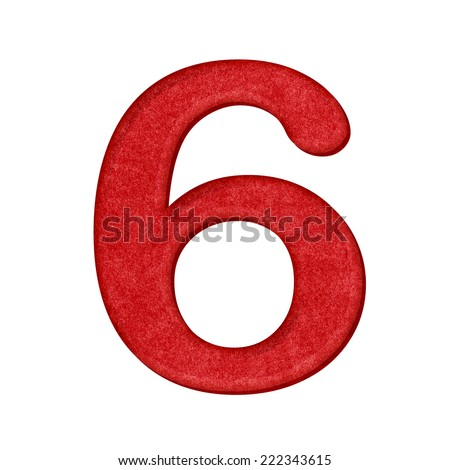 6 Number in Paper craft texture isolated on white background