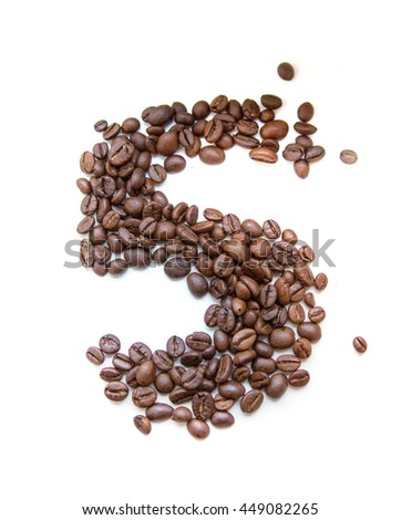 5, number made with coffee beans on a white background