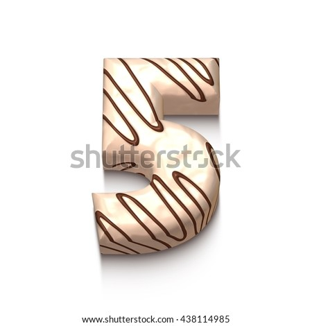 5 number of white chocolate with brown cream in 3d rendered on white background. - stock photo