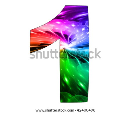 1  number with abstract design - stock photo