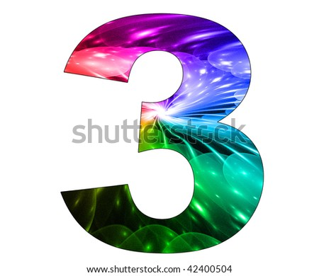 3 number with abstract design - stock photo