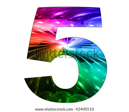 5 number with abstract design - stock photo