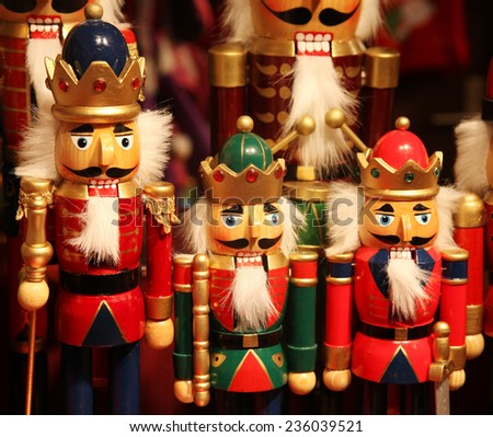 nutcracker statues standing in a row - stock photo