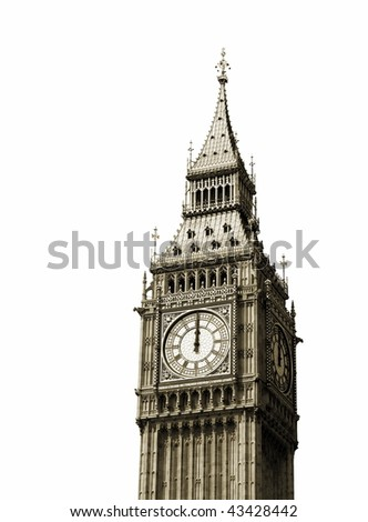 12 o'clock. Big Ben, London, UK. - stock photo