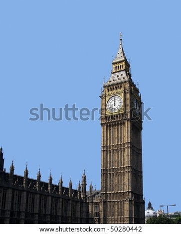 12 o'clock on Big Ben, London. - stock photo
