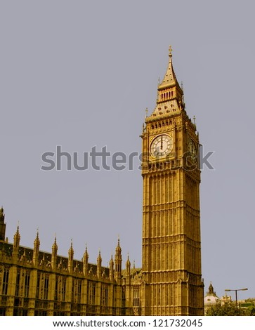 12 o'clock on Big Ben, London - New year is coming - stock photo