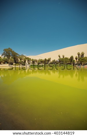 oasis of Huacachina in the desert of Ica, Peru - stock photo