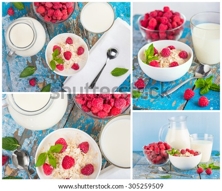 oat flakes with milk and fresh raspberries for breakfast, glass and jag with milk, spoon, fresh mint on an old wooden blue background.  Collage. The concept of a healthy diet, weight loss