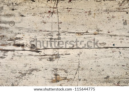 Obsolete weathered cracked white painted wood background - stock photo