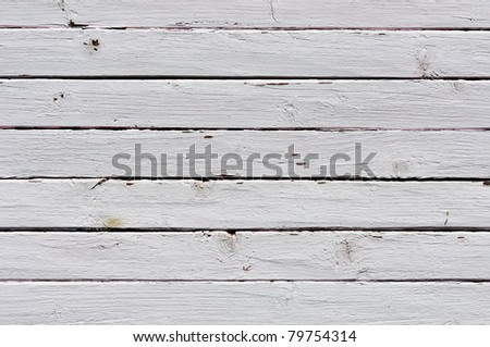 Obsolete weathered white painted wooden planks background - stock photo