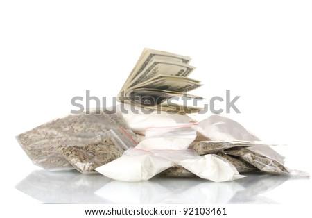 ?ocaine and marijuana in packet isolated on white - stock photo